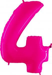 Ballongsiffra - Fyra Rosa Shiny 100 cm