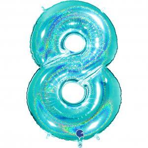 Ballongsiffra - Åtta Glitter Tiffany 100 cm