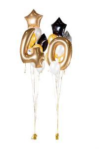 Ballongbukett - Happy Bday 40 Guld