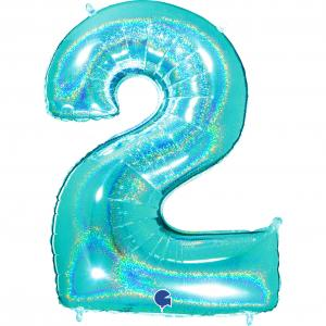 Ballongsiffra - Två Glitter Tiffany 100 cm