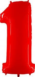 Ballongsiffra - Ett Röd Shiny White 100 cm