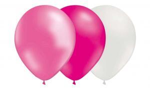 Latexballonger Kombo - Magenta-Metallic Ljusrosa-Vit 15-pack