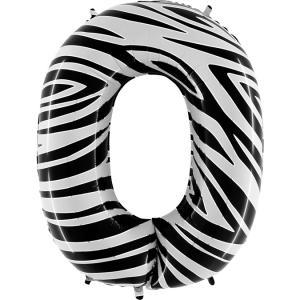 Ballongsiffra - Noll Zebraloon 100 cm