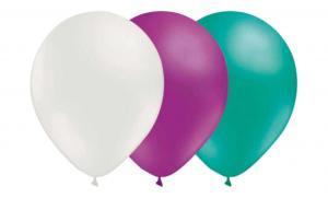 Latexballonger Kombo - Vit-Ljuslila-Havsgrön 15-pack