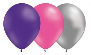 Latexballonger Kombo - Lila-Rosa-Silver 15-pack