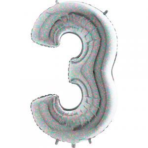 Ballongsiffra - Tre Holografisk 100 cm