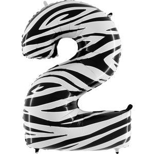 Ballongsiffra - Två Zebraloon 100 cm