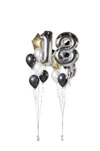 Ballongbukett - Happy Bday 18 Silver