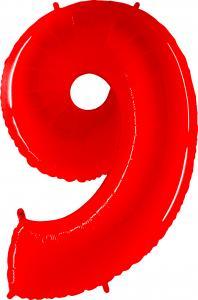 Ballongsiffra - Nio Röd Shiny 100 cm