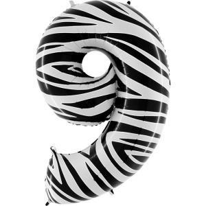 Ballongsiffra - Nio Zebraloon 100 cm