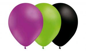 Latexballonger kombo - Lila-Limegrön-Svart 15-pack