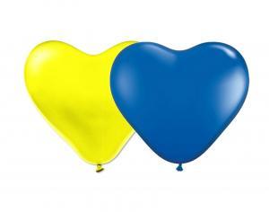 Latexhjärtan - Gula & Blå 29 cm 25-pack