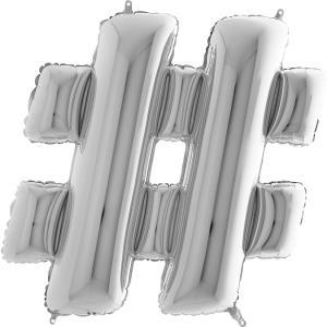 Hashtag-ballong Silver