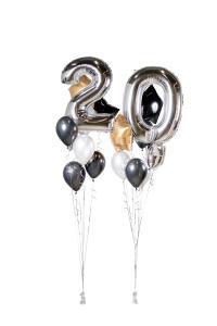 Ballongbukett - Happy Bday 20 Silver