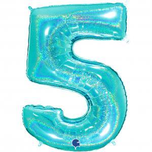 Ballongsiffra - Fem Glitter Tiffany 100 cm