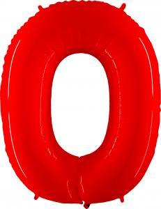Ballongsiffra - Noll Röd Shiny 100 cm