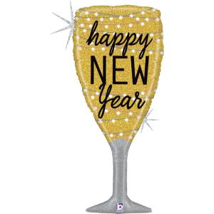 Folieballong - New Year Champagne Glass 94 cm