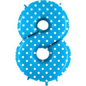 Ballongsiffra - Åtta Polkadot Ljusblå 100 cm