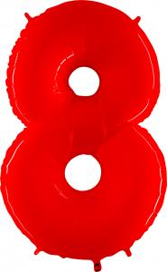 Ballongsiffra - Åtta Röd Shiny 100 cm