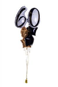 Ballongbukett - Marble Shape Birthday 60 Gold/Black
