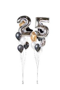 Ballongbukett - Happy Bday 25 Silver