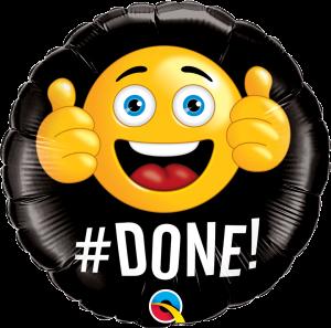 Folieballong - # DONE! 45 cm