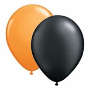 svarta och orangea ballonger