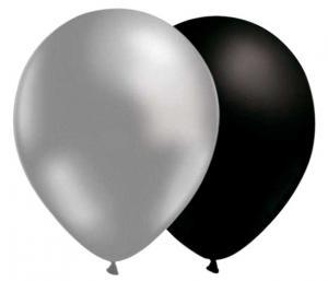 svarta och silver ballonger