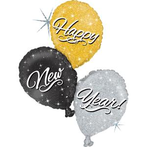 Folieballong - Happy New Year Balloon Trio 101 cm