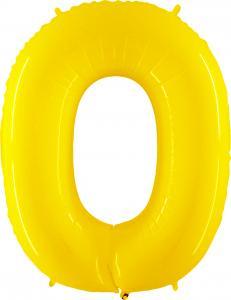 Ballongsiffra - Noll Gul Shiny 100 cm