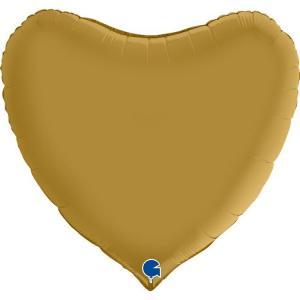 Folieballong - Hjärta Satin Gold 91 cm