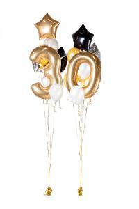 Ballongbukett - Happy Bday 30 Guld
