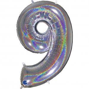 Ballongsiffra - Nio Glitter Silver 100 cm