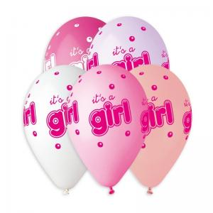 Latexballonger Premium - It´s a Girl 33 cm 5-pack