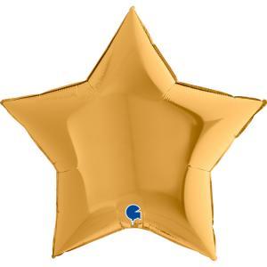 Folieballong - Stjärna Guld 91 cm