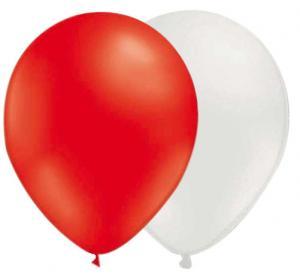 röda och vita ballonger