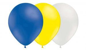Latexballonger Kombo - Blå-Solgul-Vit 15-pack