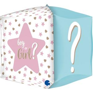 Folieballong - Square Gender Reveal 38 cm