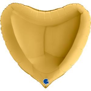 Folieballong - Hjärta Guld 91 cm