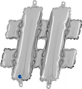 Hashtag-ballong Silver 35 cm
