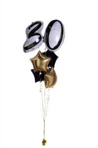 Ballongbukett - Marble Shape Birthday 30 Gold/Black