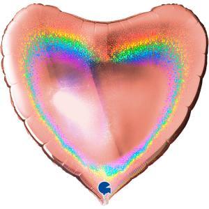 Folieballong - Hjärta Glitter Rose Gold 91 cm