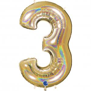 Ballongsiffra - Tre Glitter Guld 100 cm