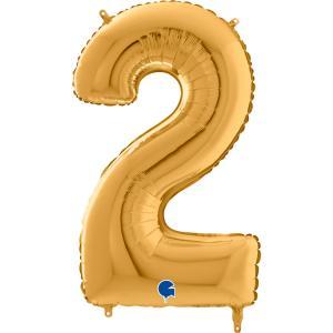 Ballongsiffra - Två Guld 66 cm