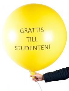 Jätteballong - Grattis till Studenten Gul 90 cm