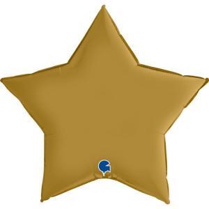 Folieballong - Stjärna Satin Gold 91 cm