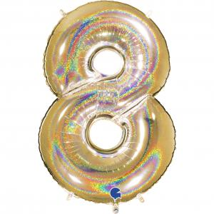 Ballongsiffra - Åtta Glitter Guld 100 cm