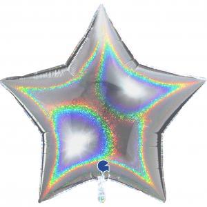 Folieballong - Stjärna Glitter Silver 91 cm