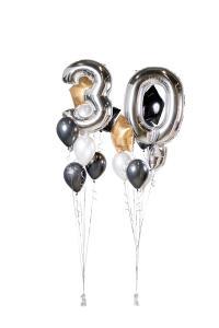 Ballongbukett - Happy Bday 30 Silver