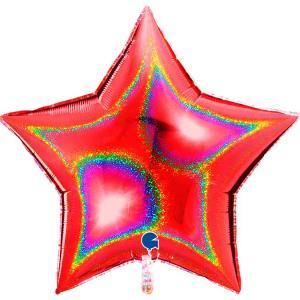 Folieballong - Stjärna Glitter Röd 91 cm